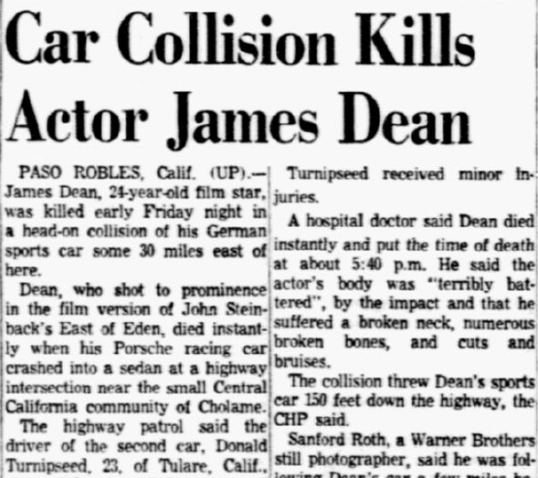 dallas-morning-news-newspaper-1001-1955-james-dean-fatal-car-crash